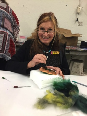 Andi Berry who came all the way from Wyoming for the conference enjoyed learning to felt