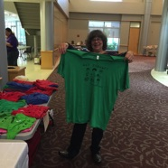 Cathy Wolfe Shows the ATAO t-shirt